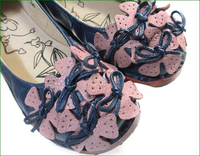 エスタシオン靴  estacion etn13682nv ネイビー 小花アップ画像