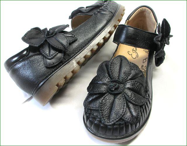 エスタシオン靴  estacion etn237813bl ブラック小花アップ画像
