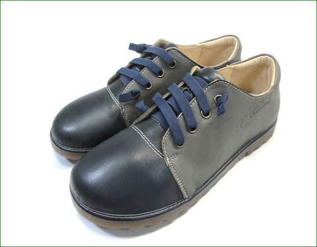エスタシオン靴  estacion etn237821bl 黒グレイ 全体画像